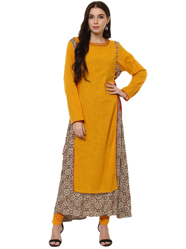 Yellow  Cotton Slub Designer   Hand Work Long kurtas