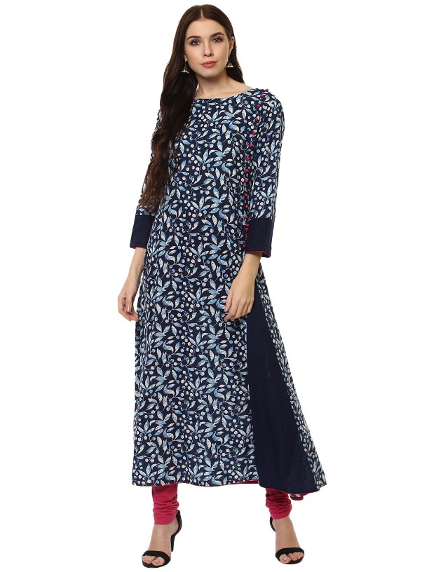 Navy Blue Cotton Designer Printed  Long kurtas