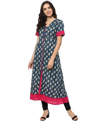 Blue  Cotton Designer Indigo Printed   Long kurtas
