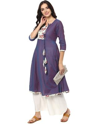 Blue Sauth Cotton Designer   Anarkli Kurtas