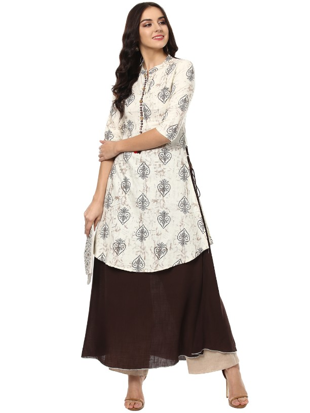 Cream    Flex Rayon Designer   Hand Work Long kurtas