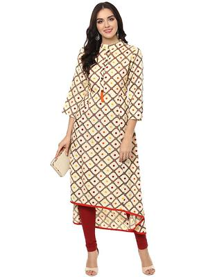 Cream Rayon Designer Long Kurtas