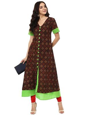 Brown  Cotton Designer Long Kurtas