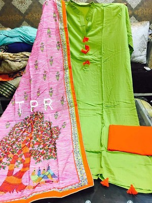 Pure cotton Rayon suit with tebby silk duppatra