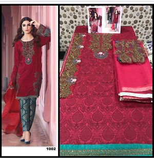 Maria b lawn cotton suit material with embroidered patches