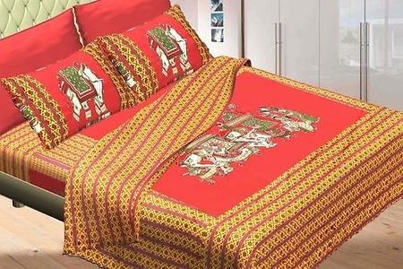 jaipuri bedsheets patch work red colour
