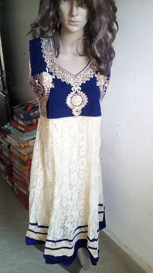 partywear heavy suite with satin salwar & net duppata.