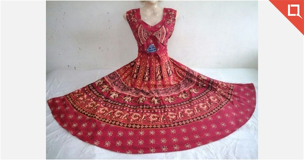 JAIPURI PRINTED PURE COTTON ONE PC DRESS ATTACHED JACKET OR KOTI STYLE.
