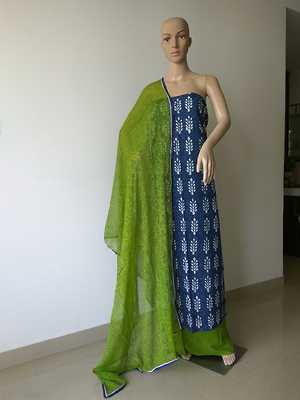 Hand block printed cotton suit and cotton bottom with block printed  chiffon dupatta