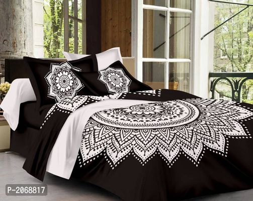 Traditional Mandala 144 TC Cotton Single Bedsheet with Pillow Cover - Superior Black