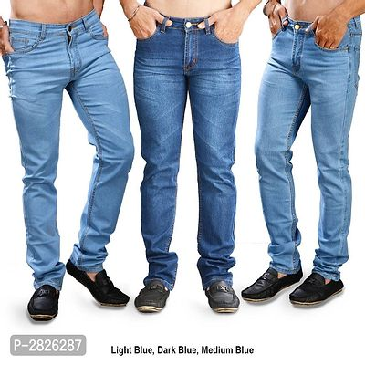 Set of 3 Solid Slim Fit Men'S Jeans