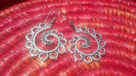 German silver  earrings - handmade and handcrafted designs from Souldesi by SJ