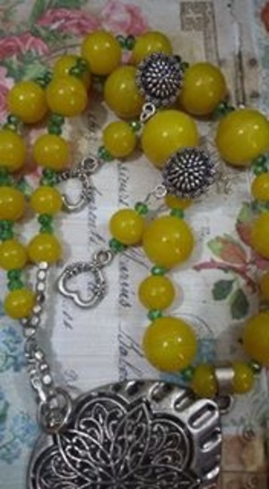 German silver yellow beads graduation necklace- handmade and handcrafted designs from Souldesi by SJ