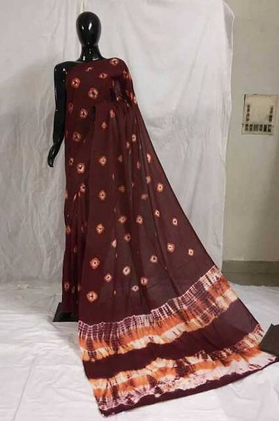 Shibori mulmul saree with blousepiece