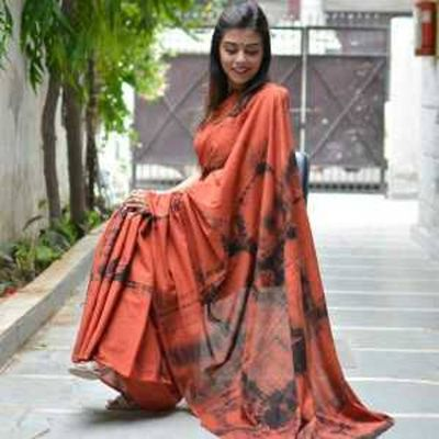 Mulmul cotton shibori saree with blousepiece