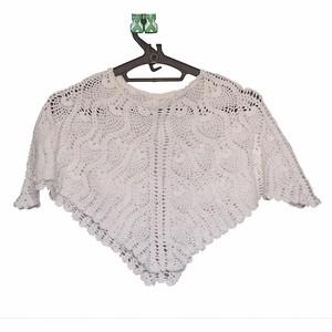 white cotton  crochet  cape or cover up
