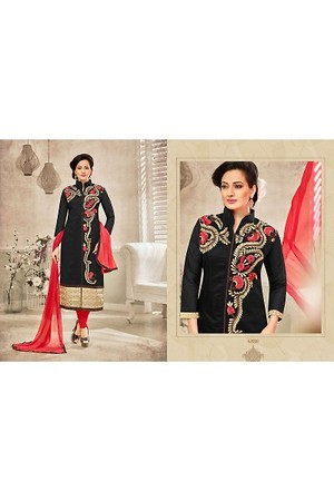 Chanderi Embroidery Unstitched Salwar Suit