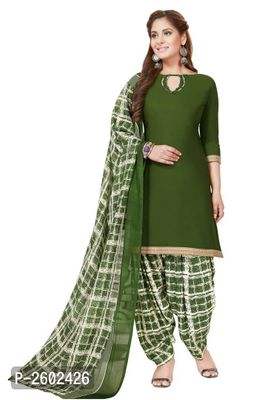 Green & White Synthetic Printed Dress Material with Dupatta