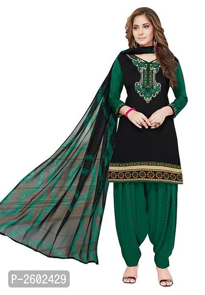 Black & Green Synthetic Printed Dress Material with Dupatta