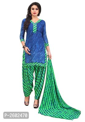 Blue & Green Synthetic Printed Dress Material with Dupatta