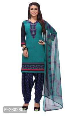 Green & Blue Synthetic  Printed Dress Material with Dupatta
