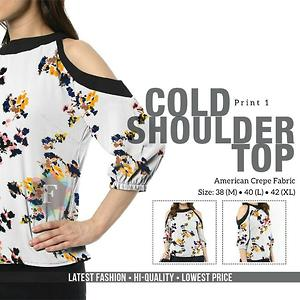 Brover Cold Shoulder Top White Printed  - M