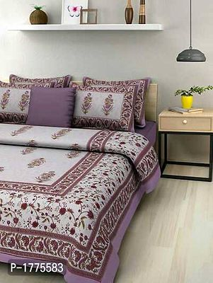Pure Cotton Jaipuri Traditional King Size Double Bed Sheet With 2 Pillow Cover  Color : Multicoloured  Fabric : Cotton  Type : King (double bed) Size  Style : Ethnic Motifs  Set Content : 1 Bedsheet +