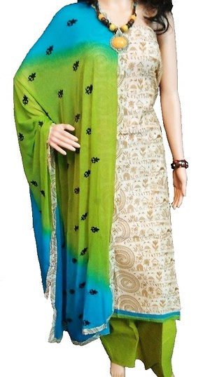chanderi material with chiffon Dupatta and cotton bottom
