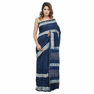 Handloom Chanderi Silk Cotton Block Printed Saree With Blouse