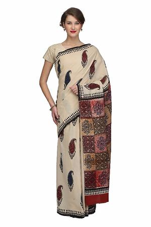 Handloom Hand Block Printed Cotton Saree With Blouse