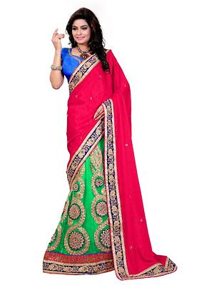 Pink Jacquard Embroidered Un-Stitched Saree