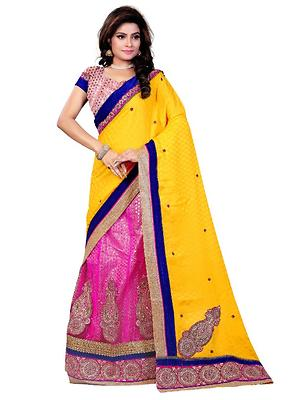 Yellow Viscose Embroidered Un-Stitched Saree