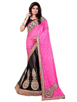 Black Net A-Line Semi-Stitched Lehenga Choli