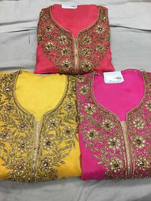 Georgette with embroidery and santoon bottom with banarasi dupatta