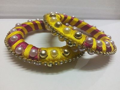 Multi Color Silk Thread Bangle Set