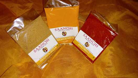 Haldi,red chilli powder and dhaniya jeera powder