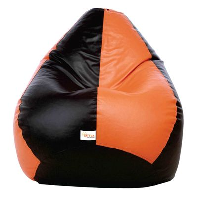 Classic XXL Bean Bag Cover (without Beans ) Dual  - Black and Orange