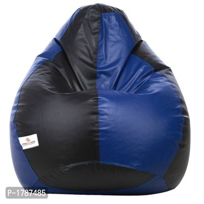 Classic XXL Bean Bag Cover (without Beans ) Dual  - Black and Royal Blue