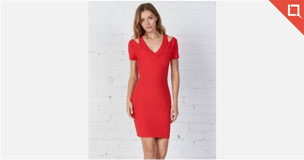 Red Double V Dress