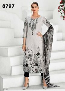 printed organdy with chain stitch embroidery