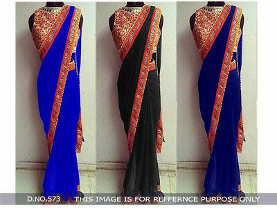 Georgette saree with embroidery work unstich blouse