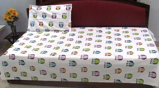 cotton baby print singe bedsheet set