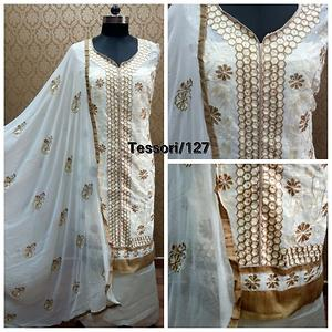 Top - Chanderi with all over embroidery. (with Lining/astar) ,Bottom - Santoon,  Dupatta - Chiffon with embroidery.