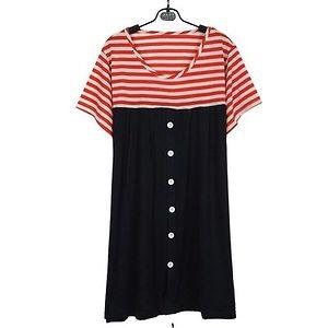 Navy Blue with Red Stripe yoke Maternity Dress