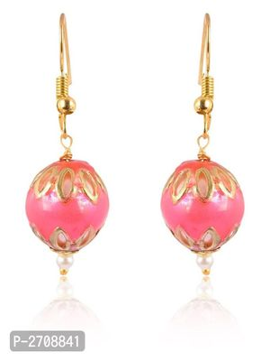 Pink  Color Pearl  Golden  Color Metal Non Precious Indian Ethnic Tratitional Drop