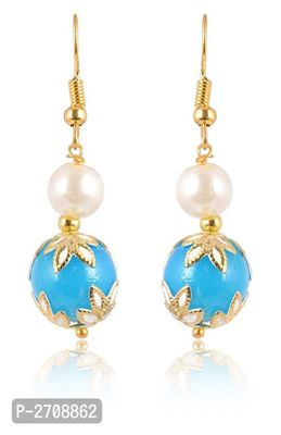 Turquoise  Color Pearl  Golden  Color Metal Non Precious Indian Ethnic Tratitional Drop