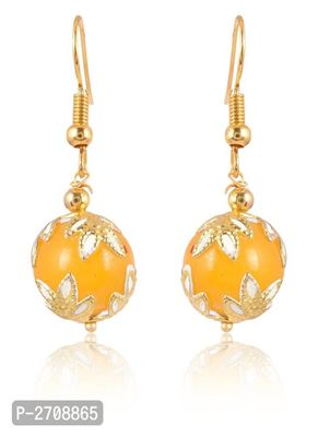 Yellow  Color Pearl  Golden  Color Metal Non Precious Indian Ethnic Tratitional Drop