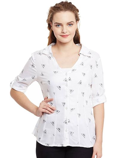 White Tringle Rayon Shirt