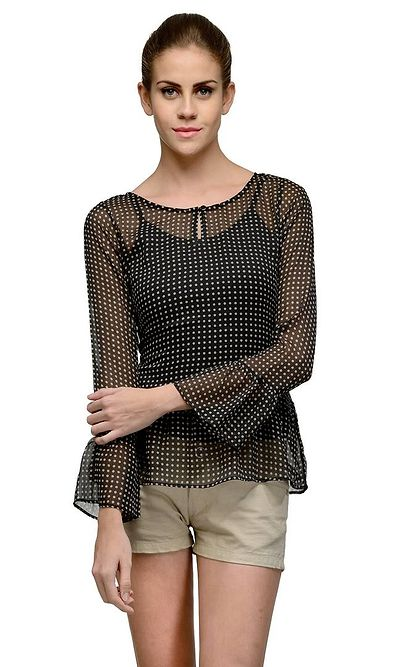 Dotted Summer Cool Bell Sleeves Top