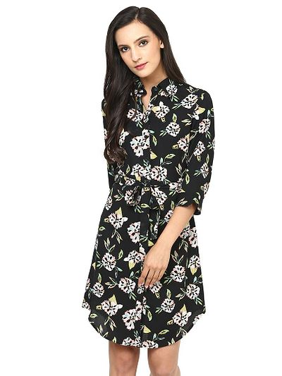 Black Flower Print Shirt Dress